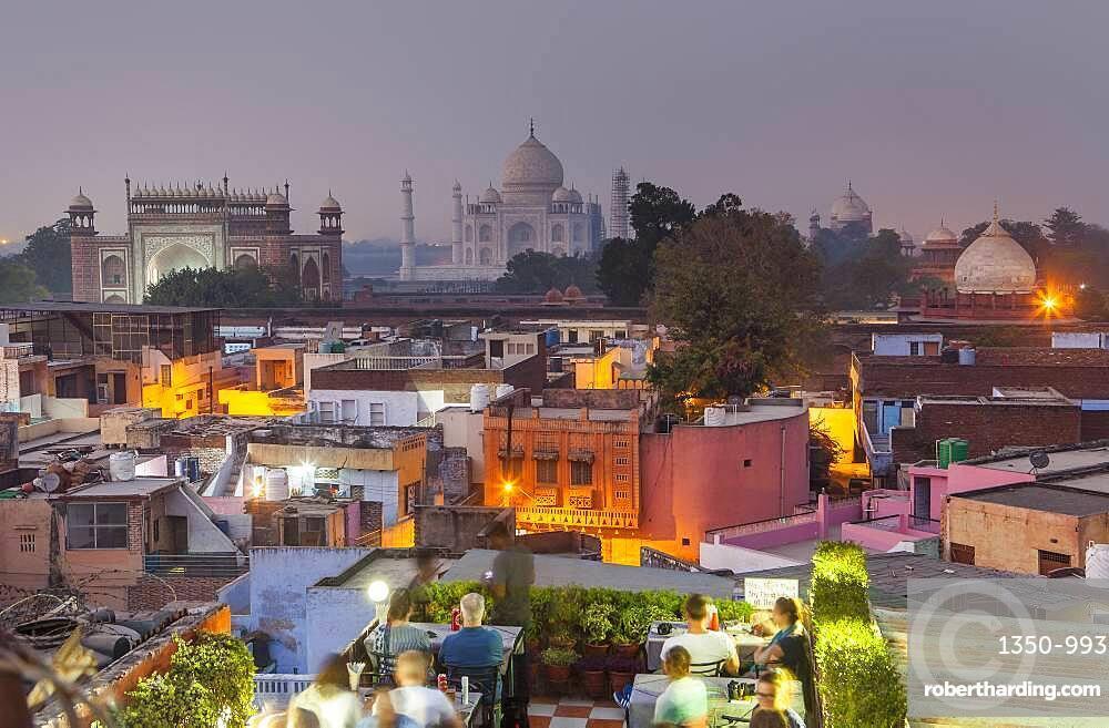 Taj Mahal and roofs of the city, Agra, India