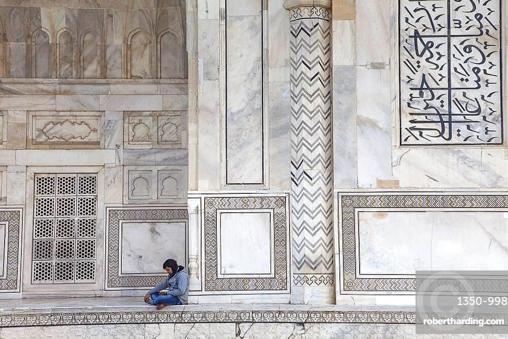 Exterior wall of Taj Mahal, UNESCO World Heritage Site, Agra, Uttar Pradesh, India