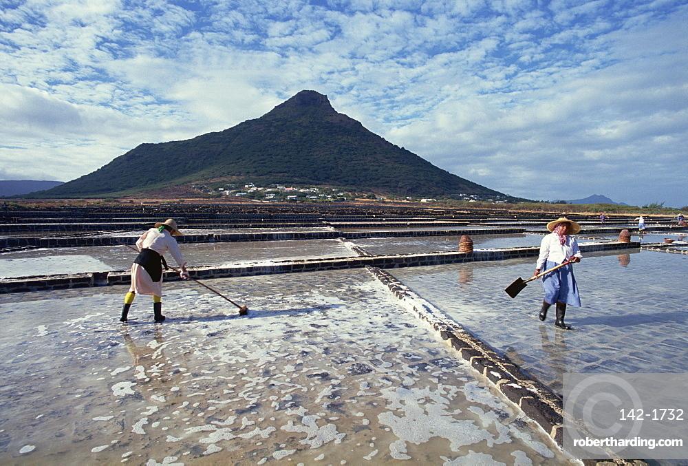 Salt pans, Mauritius, Indian Ocean, Africa