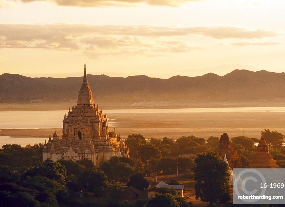 Aerial view over the Gawdawpalin Pagoda at dawn/dusk, Bagan (Pagan) area, Myanmar (Burma), Asia
