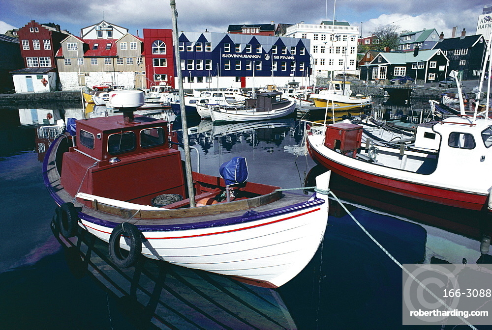 Boats in harbour, Torshavn (Thorshavn), Stremoy, Faeroe Islands, Denmark, Europe, North Atlantic