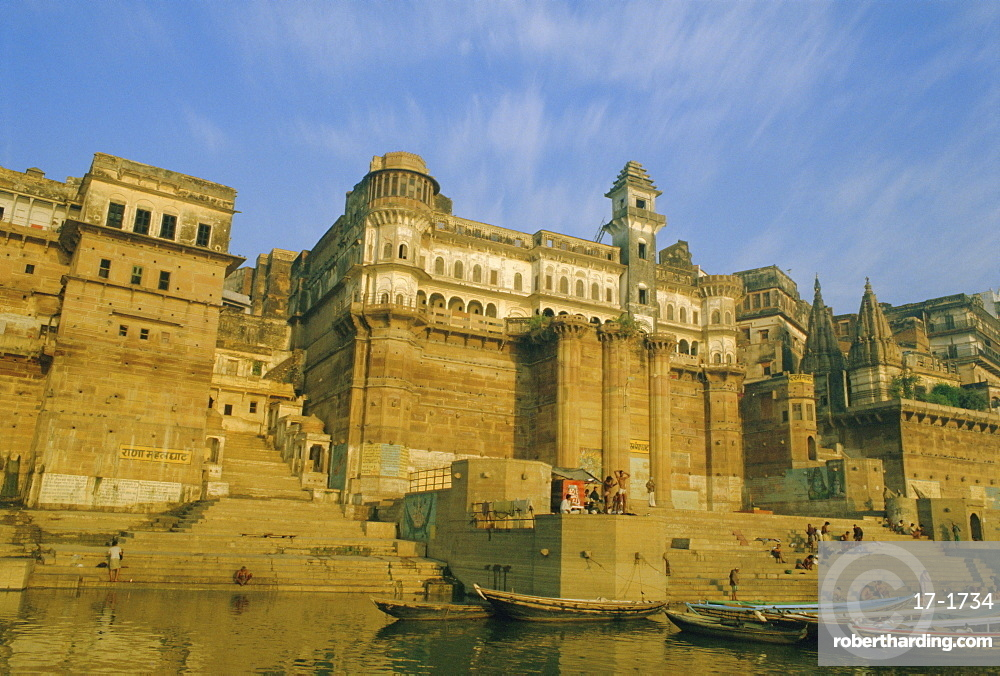Buildings on the Ganga (Ganges) River waterfront, Varanasi (Benares), Uttar Pradesh State, India