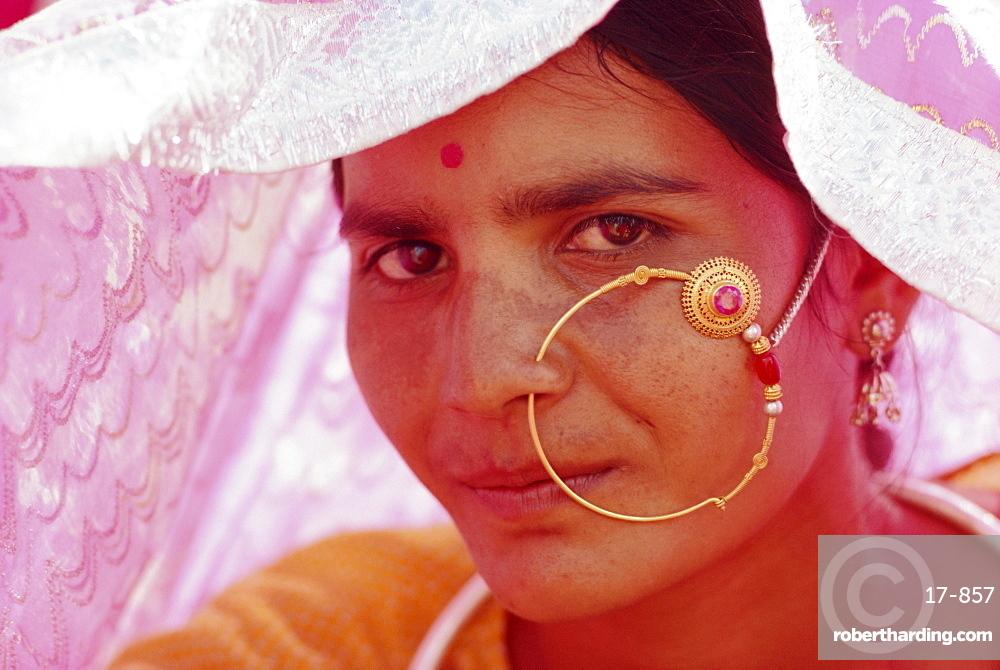 Portrait of a Rajasthani woman with nose ornament, Rajasthan State, India