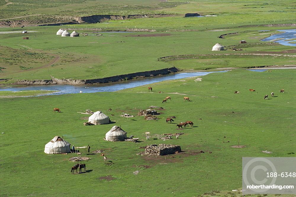 Kazak yurts in summer pasture, Altay Mountains, northeast Xinjiang, China, Asia