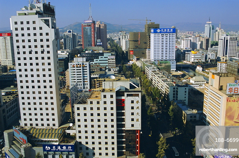 Modern central business district, Kunming, Yunnan Province, China