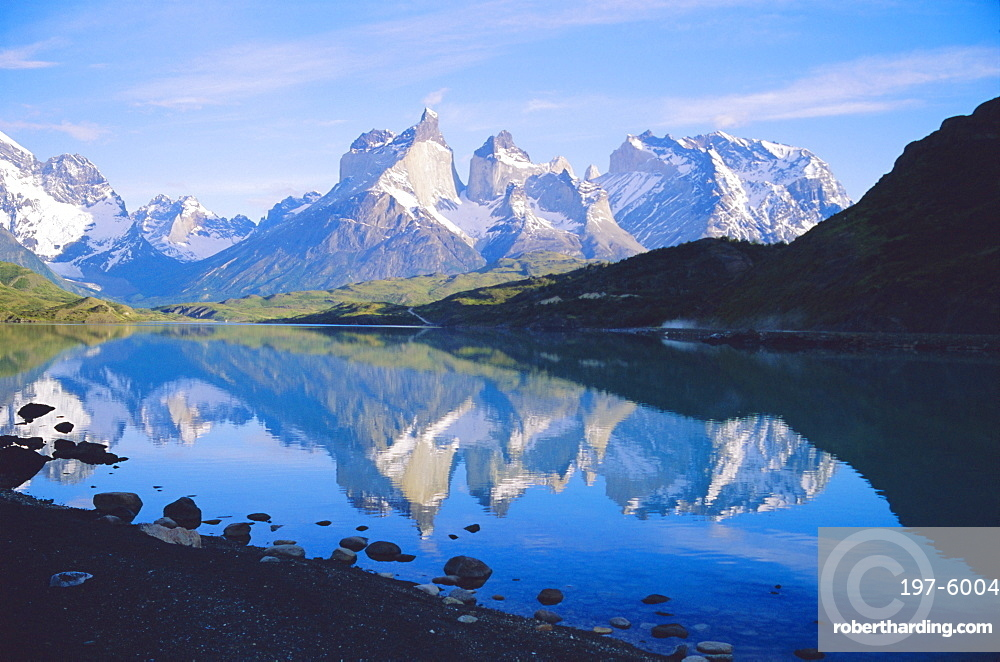 Chile, Patagonia, Torres Del Paine National Park, Cuernos Del Paine (2,600m) From Lago Pehoe