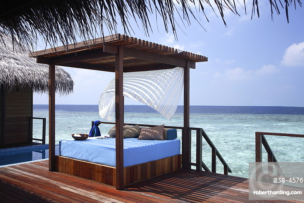 Pool deck of a villa at Coco Palm Bodu Hithi Resort in the Maldives, Indian Ocean, Asia