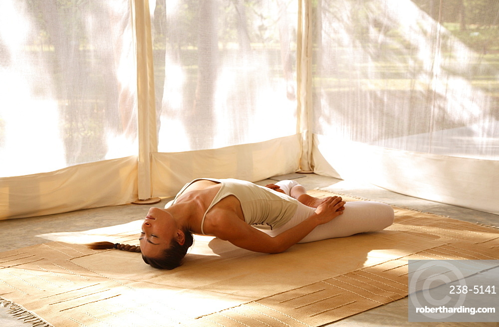 Mastyasana posture, yoga at Tent at the Shreyas Retreat, Bangalore, Karnataka, India, Asia