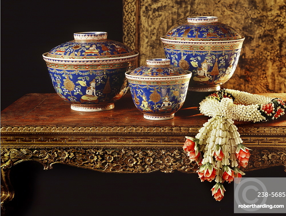 Leh Thong Bencharong enamelware bowls, decorated with Thep Chum Num (gathering of Devas) motif, ordered from China by King Rama II in the 19th century, Prasat Museum, Bangkok, Thailand, Southeast Asia, Asia