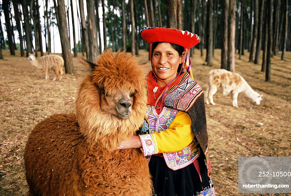 Local woman and Lama, Peru, South America