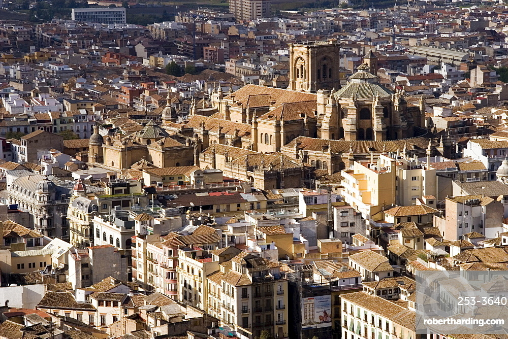 View of city showing the cathedral, from the watch tower of the Alcazaba, Granada, Andalucia, Spain, Europe