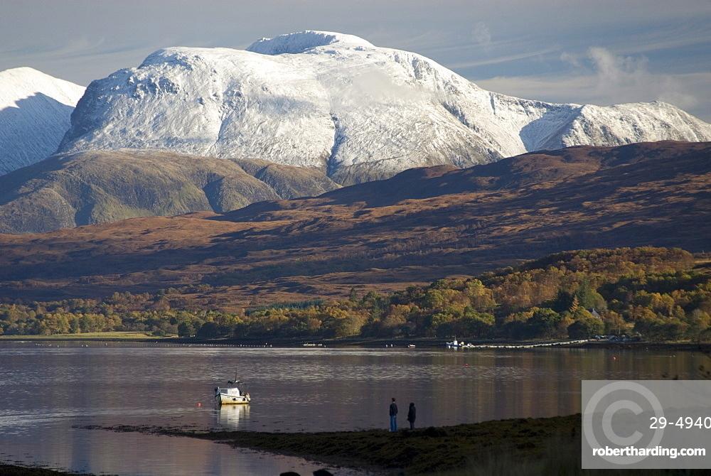 Ben Nevis range, seen from Loch Eil, Grampians, western Scotland, United Kingdom, Europe