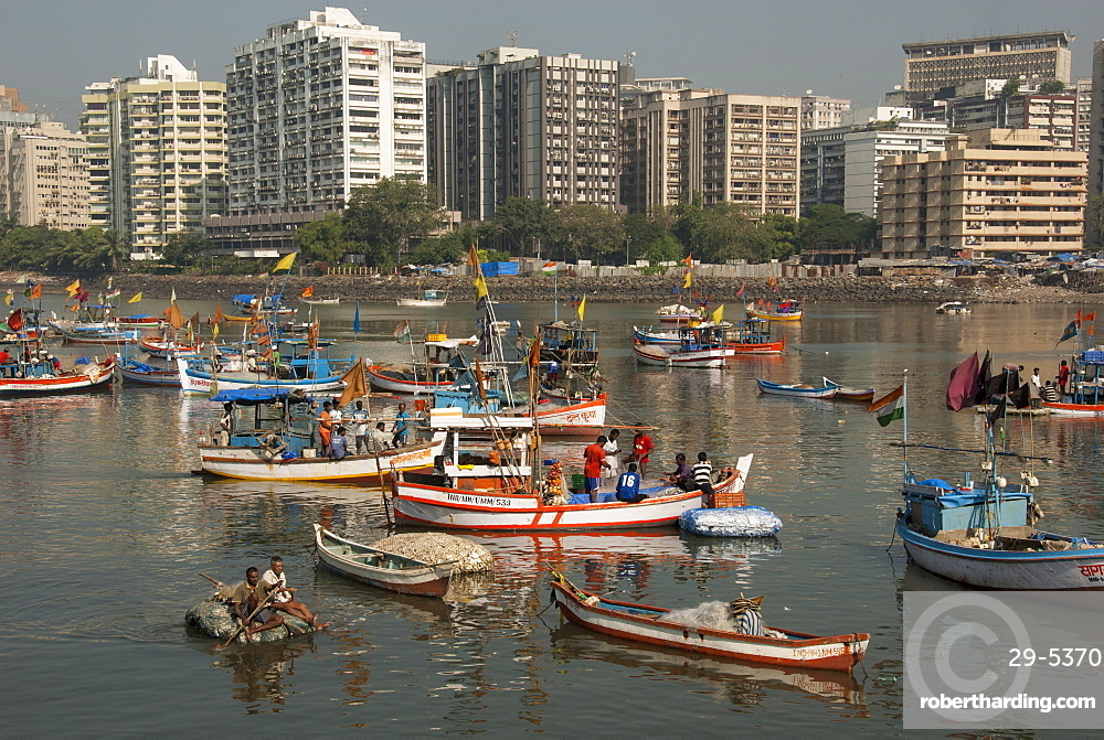 Colaba fishing fleet lands its catch in Back Bay, southern end of Mumbai city, Maharashtra, India, Asia