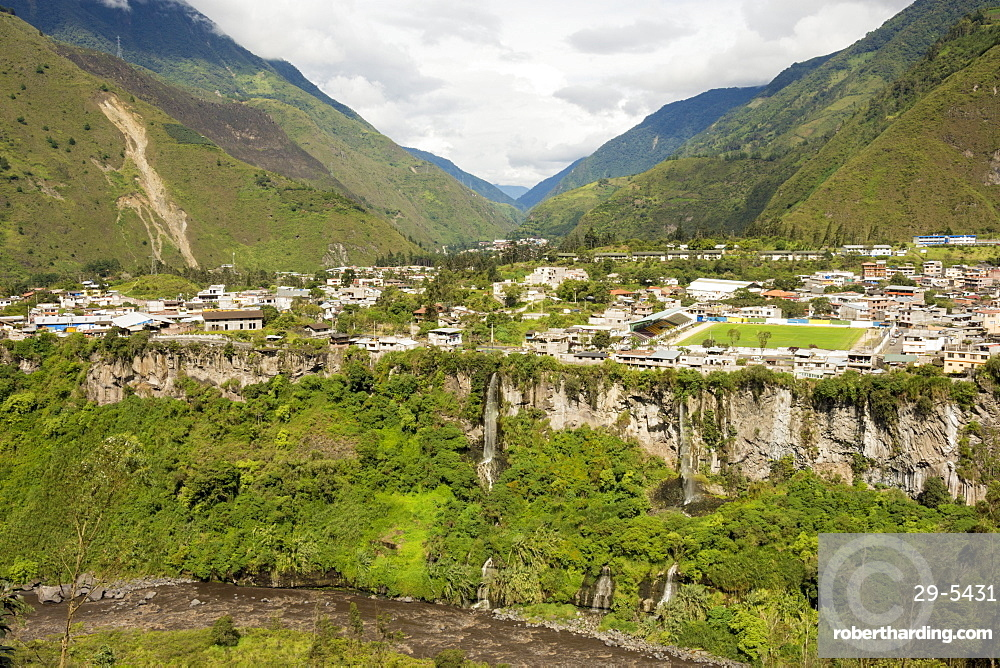 Central highlands, town of Banos, built on a lava terrace, Ecuador, South America