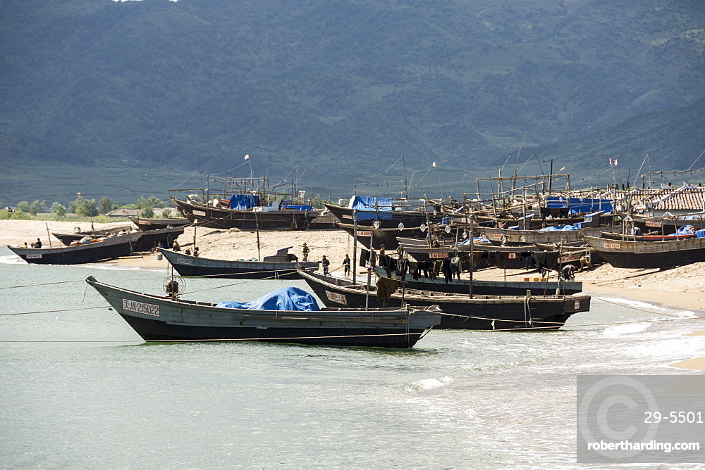 Fishing boats on beach at Yongbun, near Chongjin, Hamgyong Province, North Korea, Asia