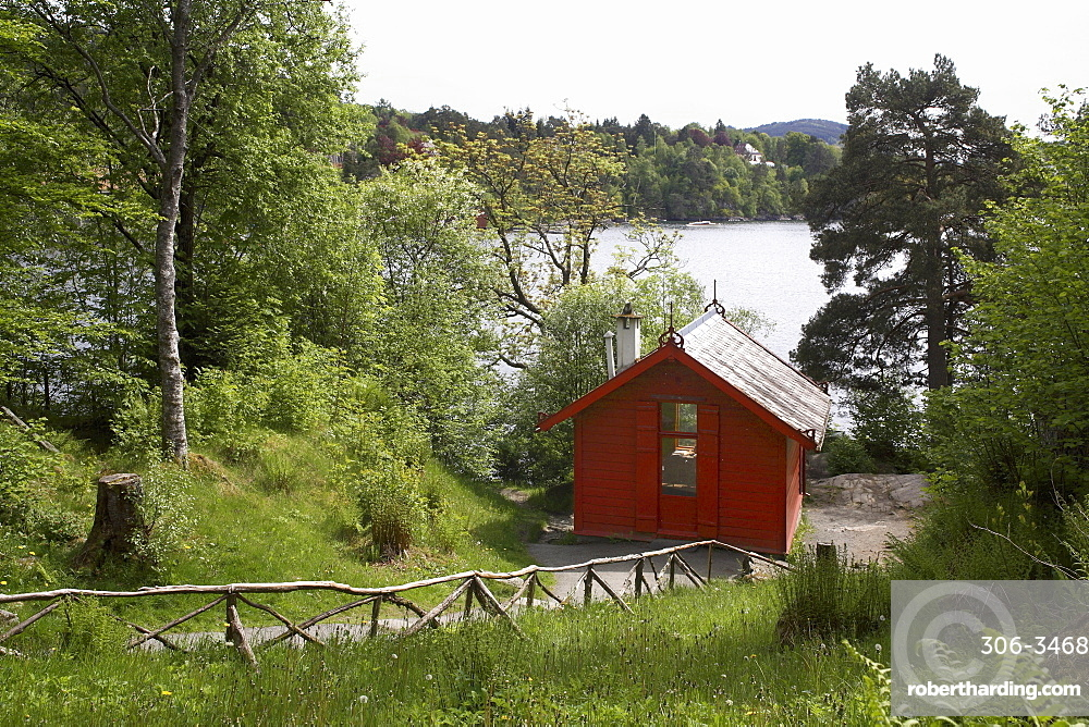 The composer Edvard Grieg's cottage at Troldhaugen, near Bergen, Norway, Scandinavia, Europe