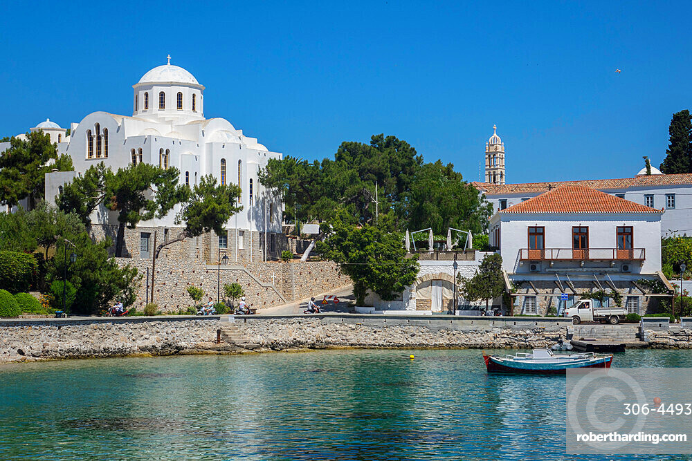 Old harbour & Church of the Three Spetses Martyrs, Spetses, Saronic islands, Greece