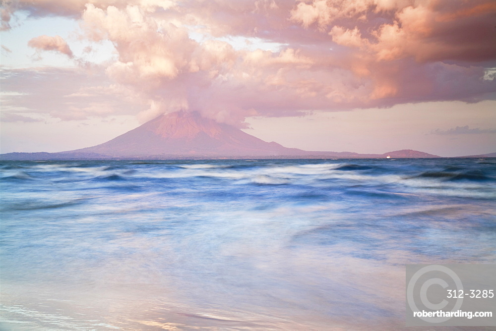 View from San Jorge of Conception Volcano, Ometepe Island, Nicaragua, Central America