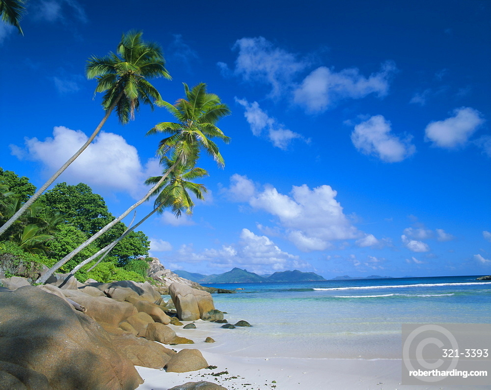 Anse Severe, La Digue with Praslin island in the background, Seychelles, Indian Ocean, Africa