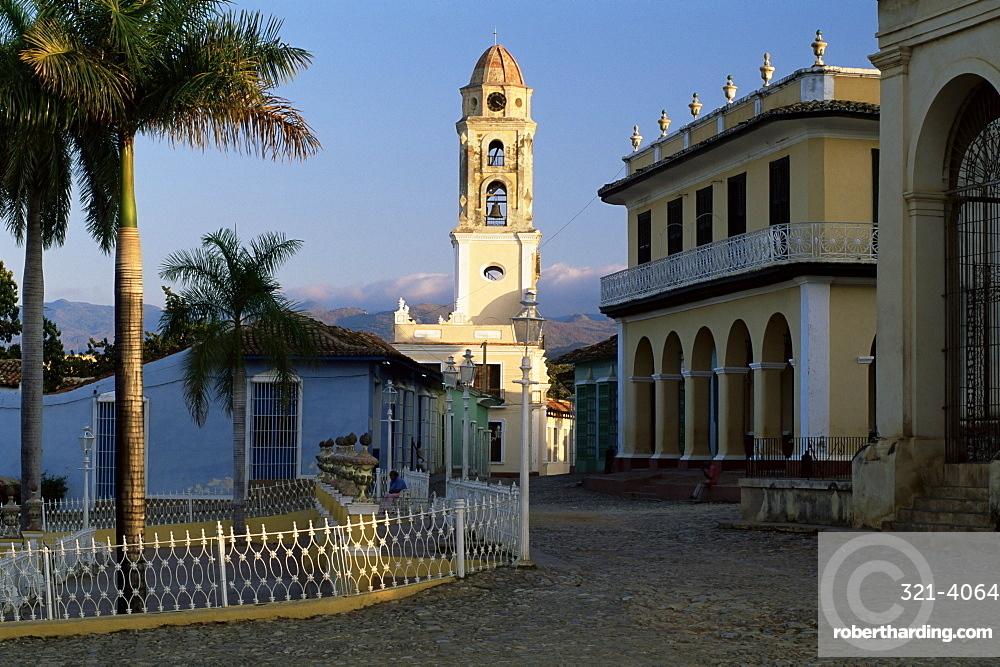 Street scene with church belltower, Trinidad, UNESCO World Heritage Site, Cuba, West Indies, Central America