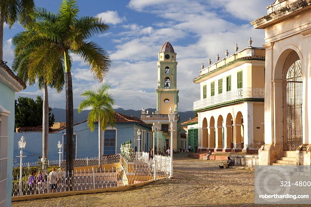 View across Plaza Mayor towards the tower of Iglesia y Convento de San Francisco, Trinidad, UNESCO World Heritage Site, Cuba, West Indies, Central America