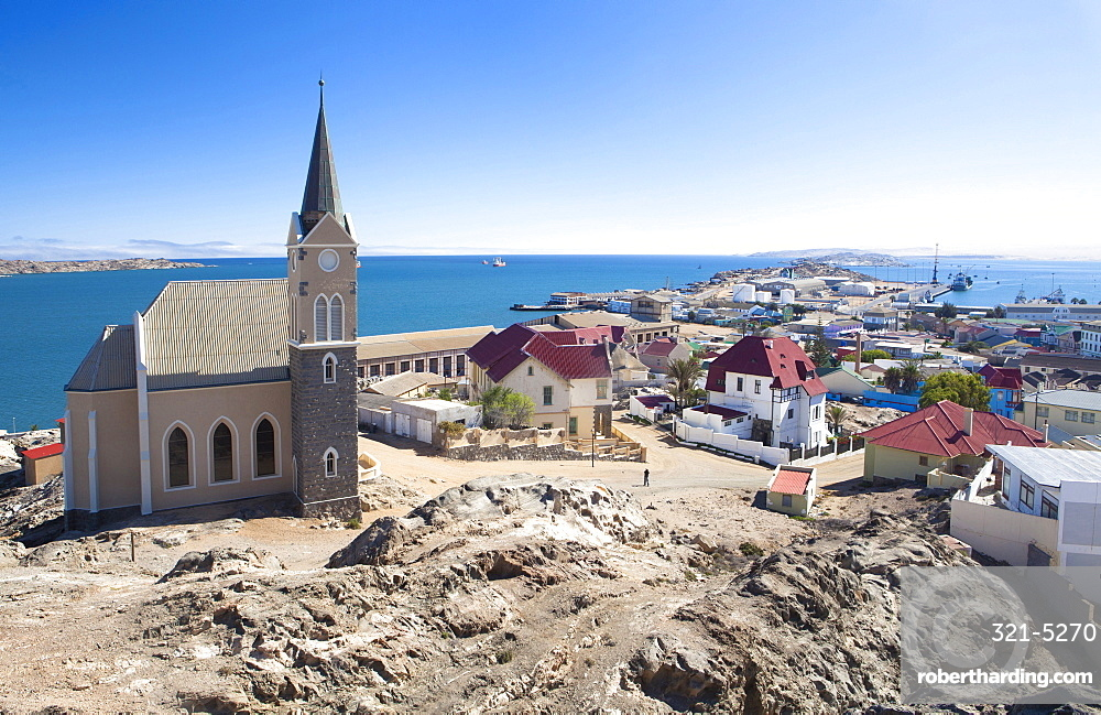View of Felsenkirche (church) and the coastal town of Luderitz with its colourful Germanic architecture, Namibia, Africa