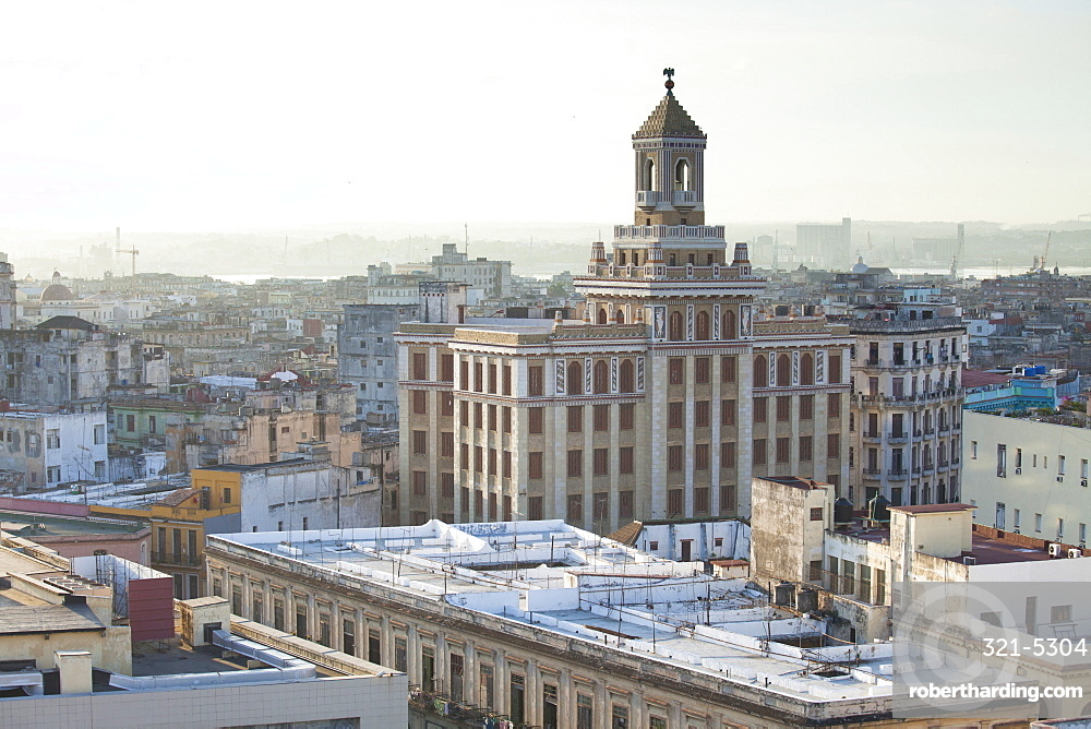View over rooftops of Havana towards The Bacardi Building from the 9th floor restaurant of Hotel Seville, Havana Centro, Cuba