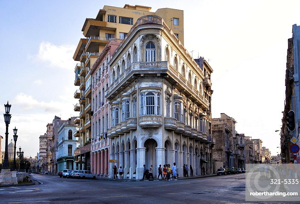 Buildings at the end of Prado, near The Malecon, Havana Centro, Havana, Cuba, West Indies, Central America
