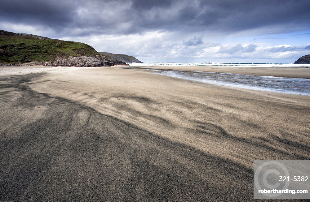 Dalbeg Beach with intricate patterns in the sand, near Carloway, Isle of Lewis, Outer Hebrides, Scotland, United Kingdom, Europe
