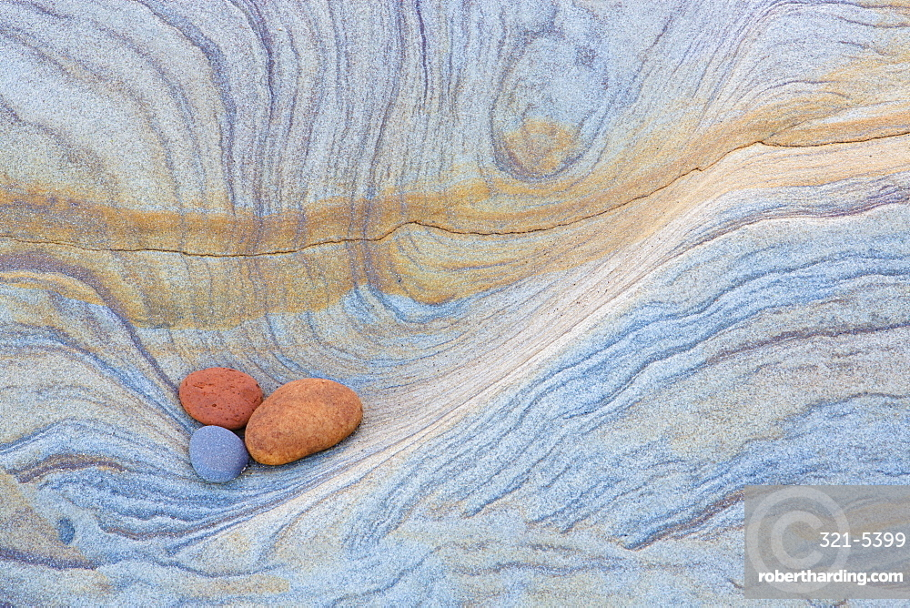 Colourful patterns created by sea erosion on rocks revealed at low tide on Spittal Beach, Berwick-upon-Tweed, Northumberland on border between England and Scotland, United Kingdom, Europe