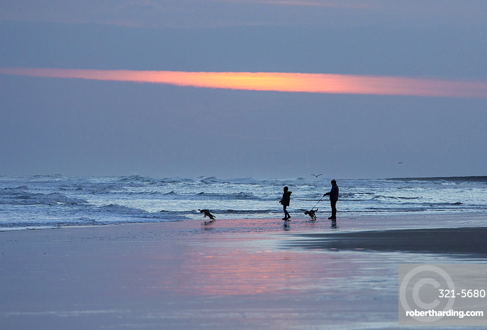 Dog walkers in silhouette on Bamburgh Beach at sunrise, Bamburgh, Northumberland, England, United Kingdom, Europe