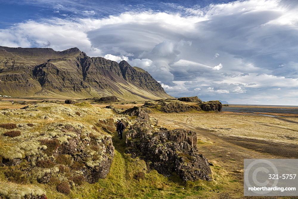 Dramatic cloud formations over landscape, near Vik Y Myrdal, South Iceland, Polar Regions