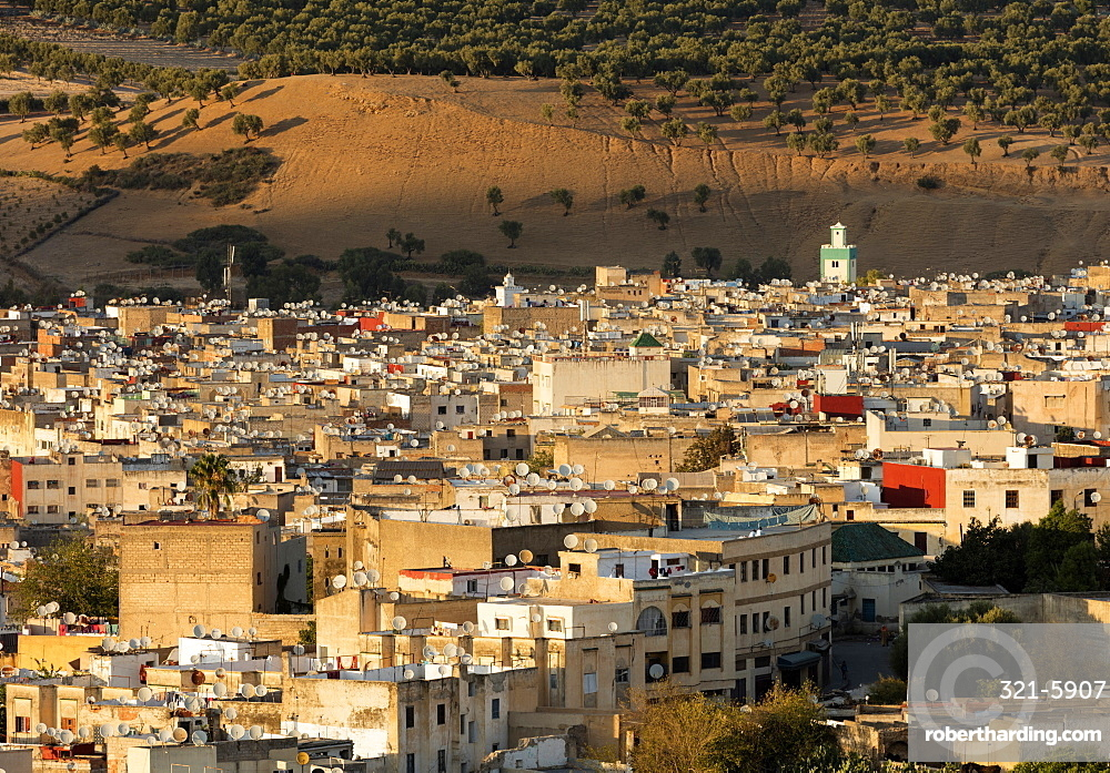 Medina of Fez bathed in evening light, UNESCO World Heritage Site, Fez, Morocco, North Africa, Africa