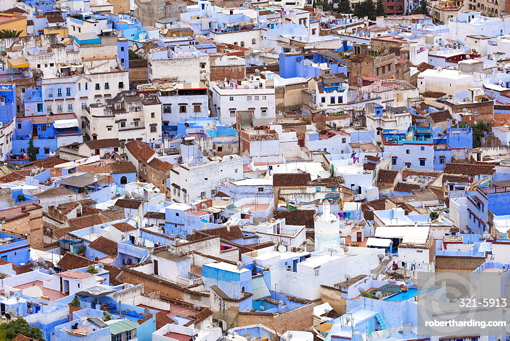 View over Chefchaouen (Chaouen) (The Blue City), Morocco, North Africa, Africa