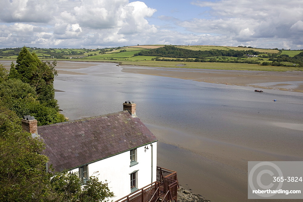 Taf estuary with Dylan Thomas boathouse, Laugharne, Carmarthenshire, South Wales, United Kingdom, Europe