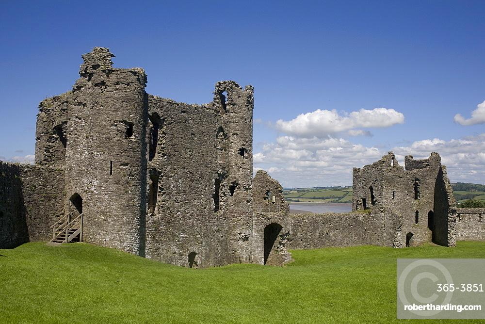 Towers and wall inside Llansteffan castle, Llansteffan, Carmarthenshire, Wales, United Kingdom, Europe