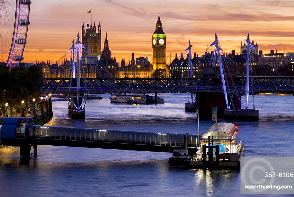 Millennium Wheel (London Eye), River Thames and Big Ben skyline at sunset, London, England, United Kingdom, Europe