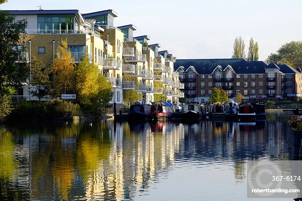 Brentford Canal and apartments, Brentford, London, England, United Kingdom, Europe