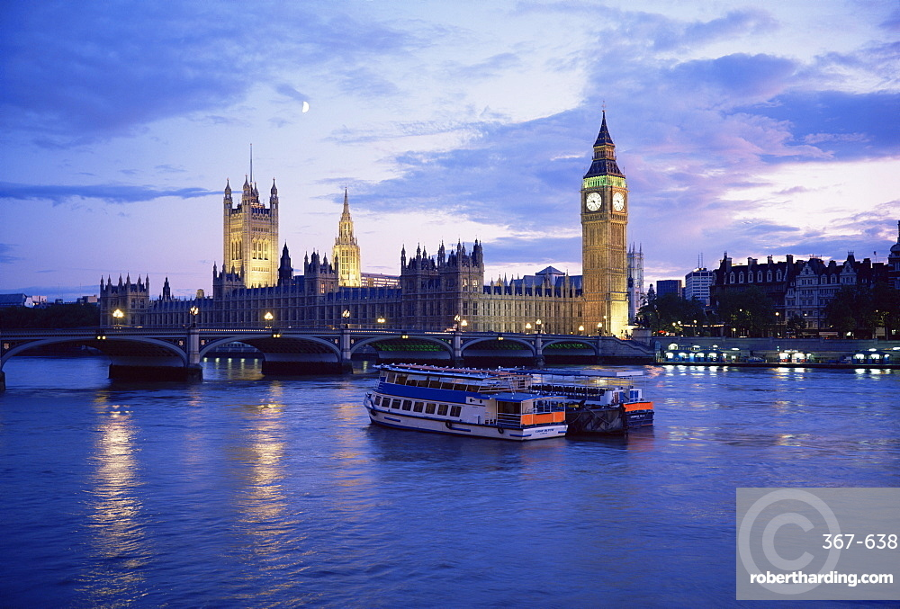 Houses of Parliament at night, London, England, United Kingdom, Europe