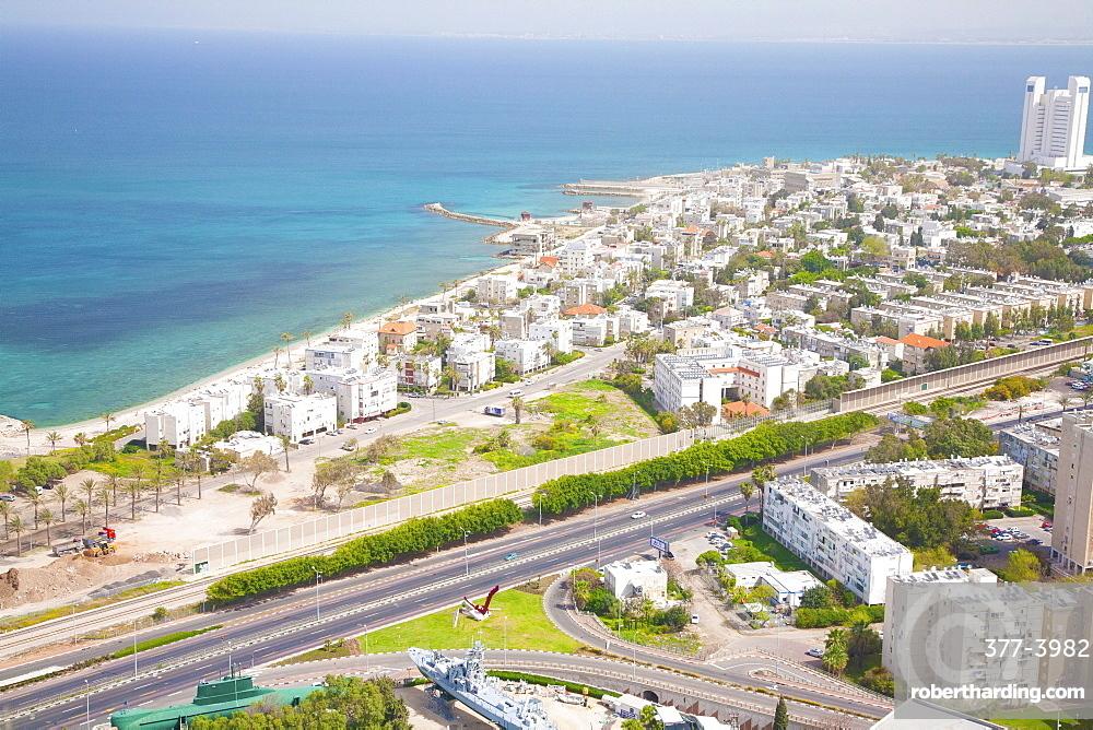 Aerial view of Haifa Bay and surroundings, Haifa, Israel, Middle East