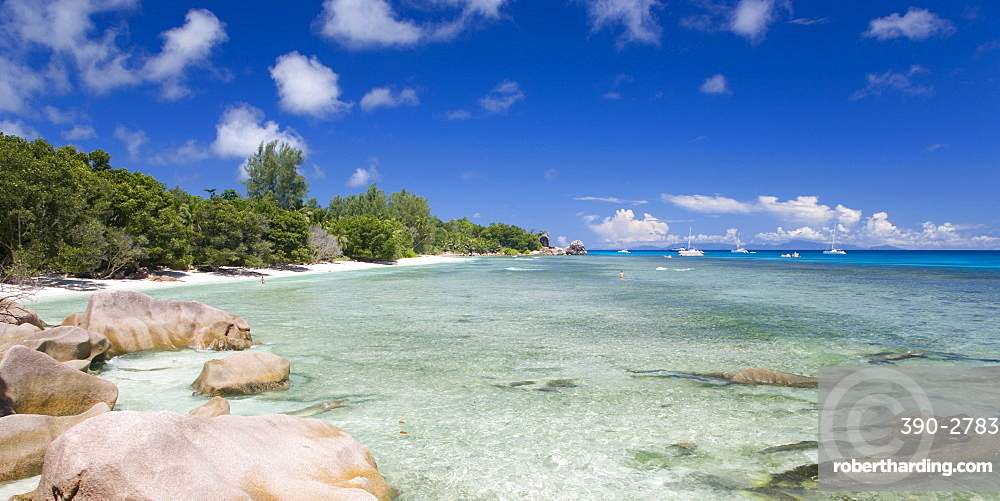 Clear waters off the beach at Anse Severe, Island of La Digue, Seychelles, Indian Ocean, Africa
