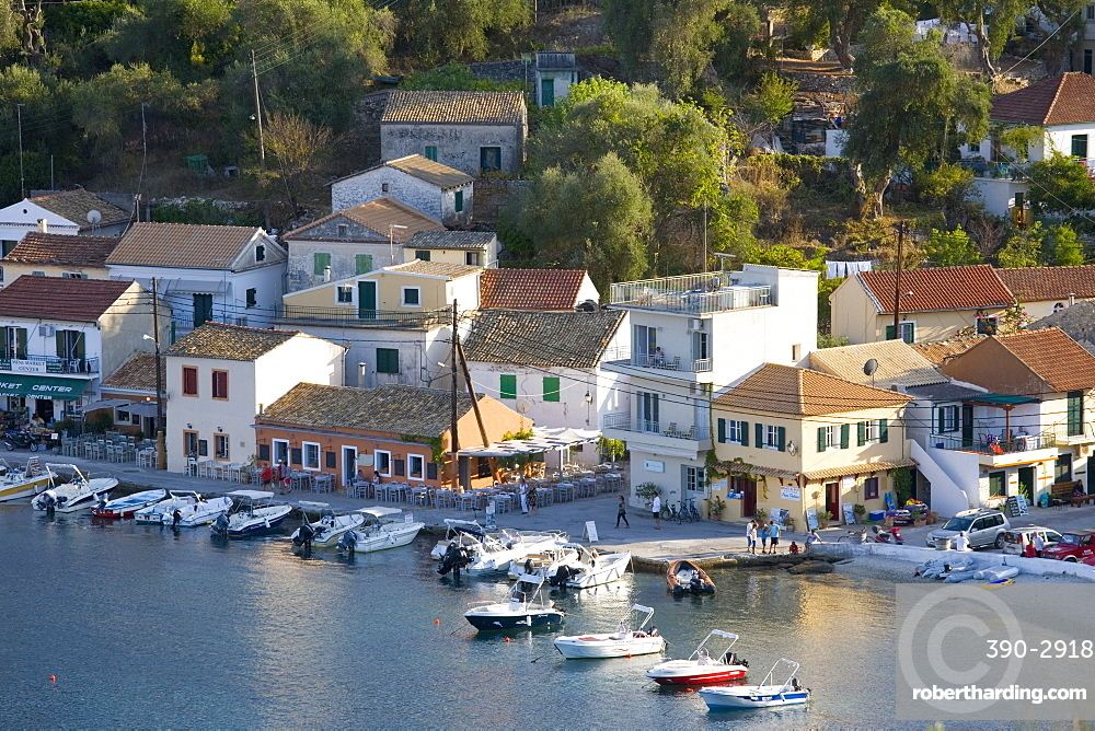 View over the harbour from hillside, Loggos, Paxos, Paxi, Corfu, Ionian Islands, Greek Islands, Greece, Europe