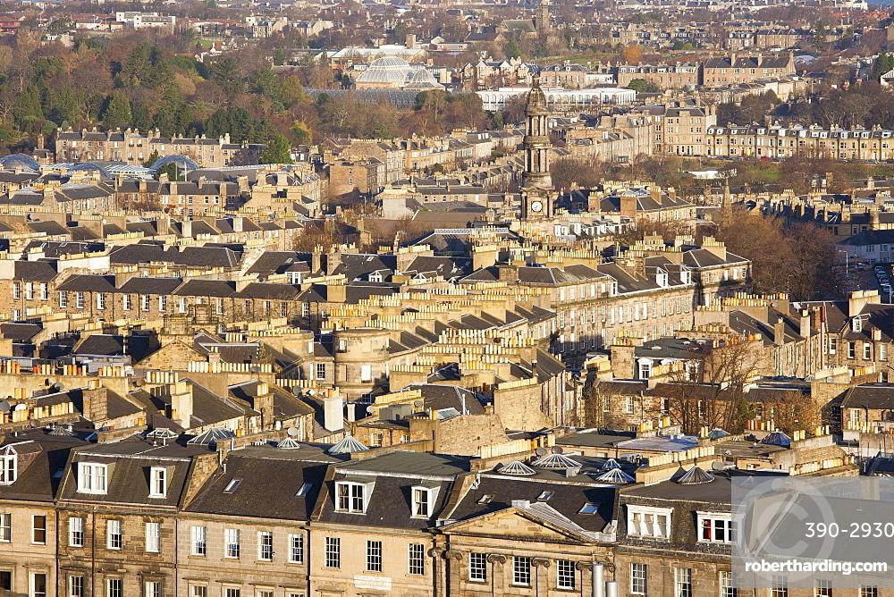 View over New Town rooftops from Calton Hill, Edinburgh, City of Edinburgh, Scotland, United Kingdom, Europe