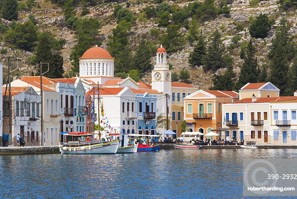 Waterfront houses and church, Kastellorizo (Kastelorizo, Megisti, Meis), Rhodes, Dodecanese Islands, South Aegean, Greece, Europe