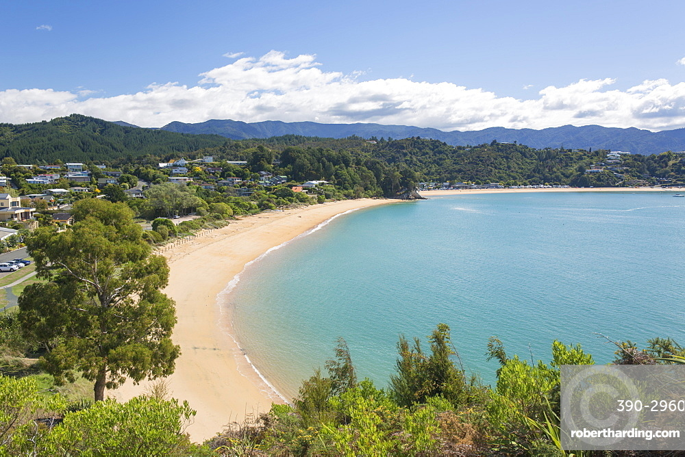 View from hillside over the sandy beach at Little Kaiteriteri, Kaiteriteri, Tasman, South Island, New Zealand, Pacific