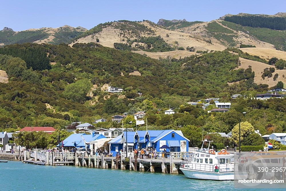 View from Akaroa Harbour to the Main Wharf, Akaroa, Banks Peninsula, Canterbury, South Island, New Zealand, Pacific