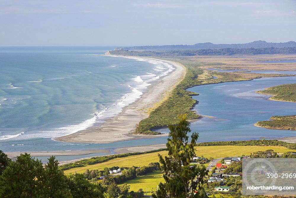 View over Okarito Lagoon from Okarito Trig, Okarito, Westland Tai Poutini National Park, West Coast, South Island, New Zealand, Pacific