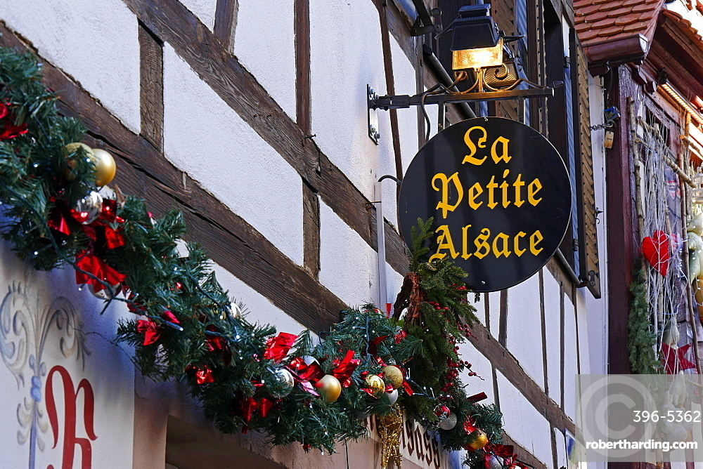 Christmas decoration in the old town Petite France, Strasbourg, Alsace, France, Europe
