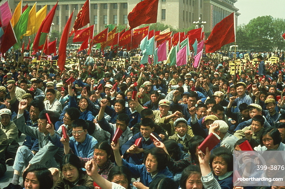 Demonstration on Tiananmen Square during the Cultural Revolution in 1967, Beijing, China, Asia