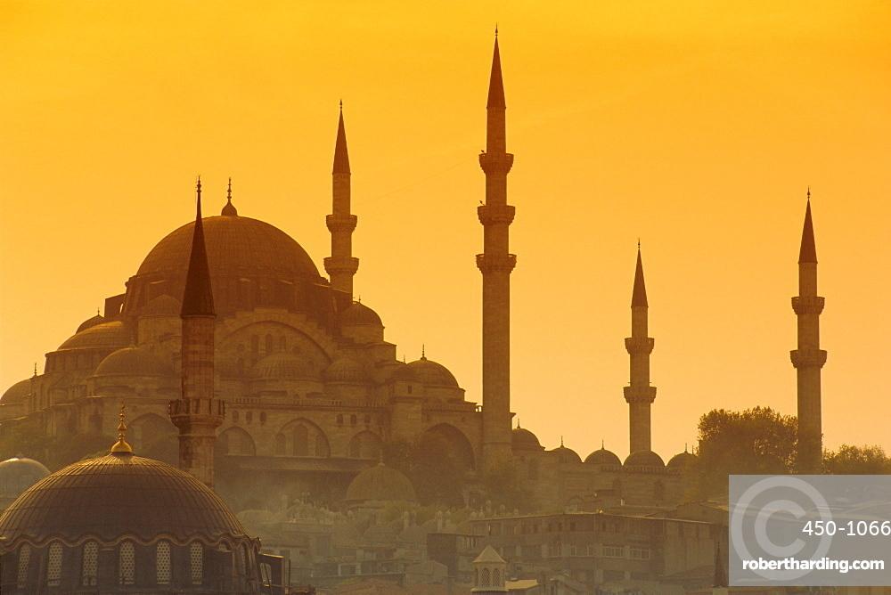 Suleymaniye complex from Galata Bridge, Istanbul, Turkey, Europe